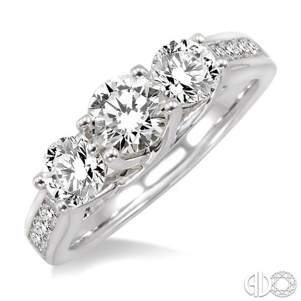 1 1/2 Ctw Diamond Engagement Ring with 1/2 Ct Round Cut Center Stone in 14K White Gold Coughlin Jewelers St. Clair, MI