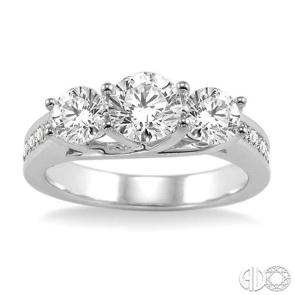 2 Ctw Diamond Engagement Ring with 3/4 Ct Round Cut Center Stone in 14K White Gold Image 2 Coughlin Jewelers St. Clair, MI