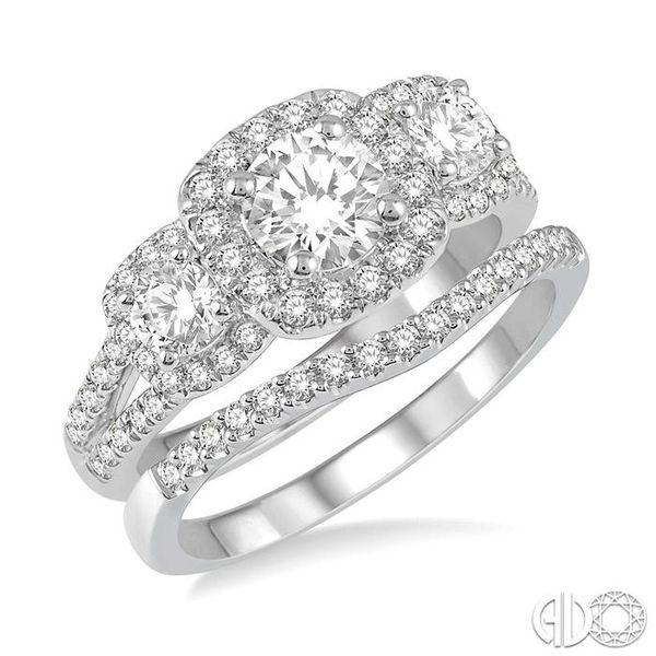 1 3/4 Ctw Diamond Wedding Set With 1 1/2 Ctw Triple Cushion Shape Mount Engagement Ring and 1/5 Ctw Curved Wedding Band in 14K W Coughlin Jewelers St. Clair, MI