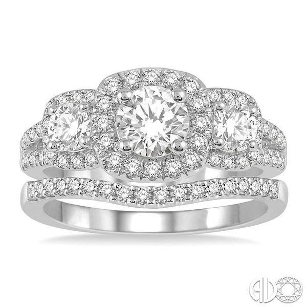 1 3/4 Ctw Diamond Wedding Set With 1 1/2 Ctw Triple Cushion Shape Mount Engagement Ring and 1/5 Ctw Curved Wedding Band in 14K W Image 2 Coughlin Jewelers St. Clair, MI