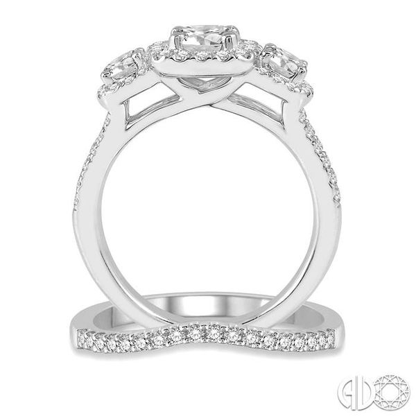 1 3/4 Ctw Diamond Wedding Set With 1 1/2 Ctw Triple Cushion Shape Mount Engagement Ring and 1/5 Ctw Curved Wedding Band in 14K W Image 3 Coughlin Jewelers St. Clair, MI