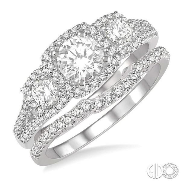 1 Ctw Diamond Wedding Set With 7/8 Ctw Triple Cushion Shape Mount Engagement Ring and 1/10 Ctw Curved Wedding Band in 14K White  Coughlin Jewelers St. Clair, MI