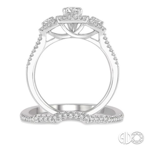 1 Ctw Diamond Wedding Set With 7/8 Ctw Triple Cushion Shape Mount Engagement Ring and 1/10 Ctw Curved Wedding Band in 14K White  Image 3 Coughlin Jewelers St. Clair, MI