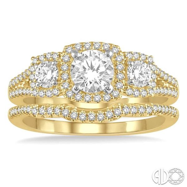 1 Ctw Diamond Wedding Set With 7/8 Ctw Triple Cushion Shape Mount Engagement Ring and 1/10 Ctw Curved Wedding Band in 14K Yellow Image 2 Coughlin Jewelers St. Clair, MI