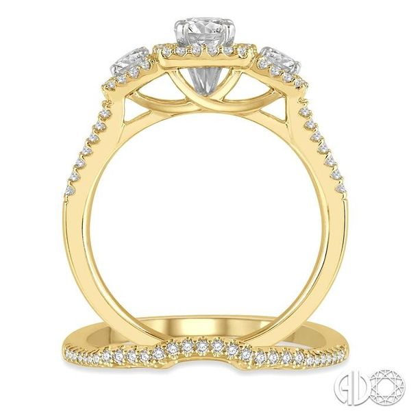 1 Ctw Diamond Wedding Set With 7/8 Ctw Triple Cushion Shape Mount Engagement Ring and 1/10 Ctw Curved Wedding Band in 14K Yellow Image 3 Coughlin Jewelers St. Clair, MI