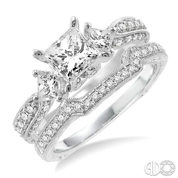 1 5/8 Ctw Diamond Wedding Set with 1 1/2 Ctw Princess Cut Engagement Ring and 1/5 Ctw Wedding Band in 14K White Gold Coughlin Jewelers St. Clair, MI