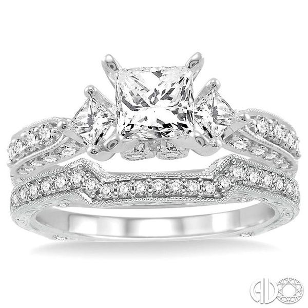 1 5/8 Ctw Diamond Wedding Set with 1 1/2 Ctw Princess Cut Engagement Ring and 1/5 Ctw Wedding Band in 14K White Gold Image 2 Coughlin Jewelers St. Clair, MI
