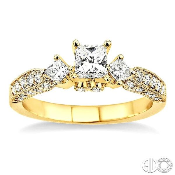 1 Ctw Diamond Engagement Ring with 3/8 Ct Princess Cut Center Stone in 14K Yellow Gold Image 2 Coughlin Jewelers St. Clair, MI