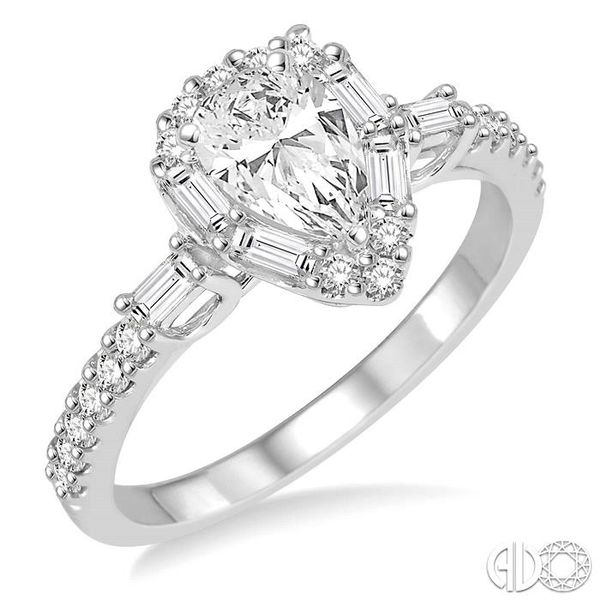 1 Ctw Diamond Engagement Ring with 1/2 Ct Pear cut Center Stone in 14K White Gold Coughlin Jewelers St. Clair, MI