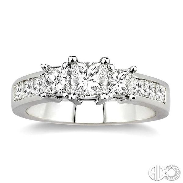 1 1/2 Ctw Nine Stone Princess Cut Diamond Engagement Ring in 14K White Gold Image 2 Coughlin Jewelers St. Clair, MI