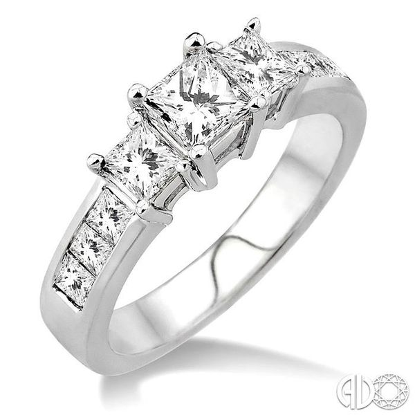 3 Ctw Nine Stone Princess Cut Diamond Engagement Ring in 14K White Gold Coughlin Jewelers St. Clair, MI