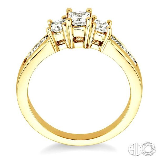 1 Ctw Nine Stone Princess Cut Diamond Engagement Ring in 14K Yellow Gold Image 3 Coughlin Jewelers St. Clair, MI