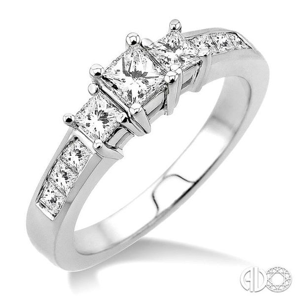 1 Ctw Nine Stone Princess Cut Diamond Engagement Ring in 14K White Gold Coughlin Jewelers St. Clair, MI