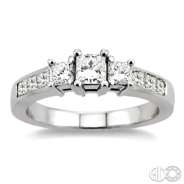 1 Ctw Nine Stone Princess Cut Diamond Engagement Ring in 14K White Gold Image 2 Coughlin Jewelers St. Clair, MI