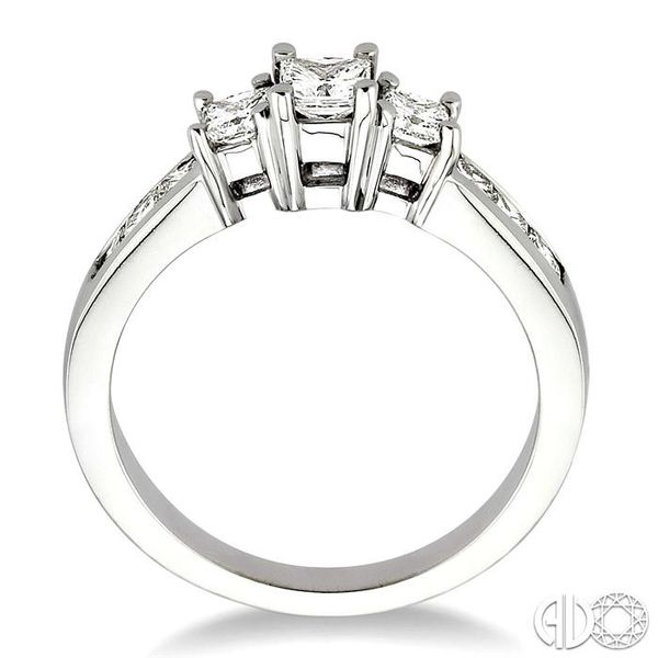 1 Ctw Nine Stone Princess Cut Diamond Engagement Ring in 14K White Gold Image 3 Coughlin Jewelers St. Clair, MI