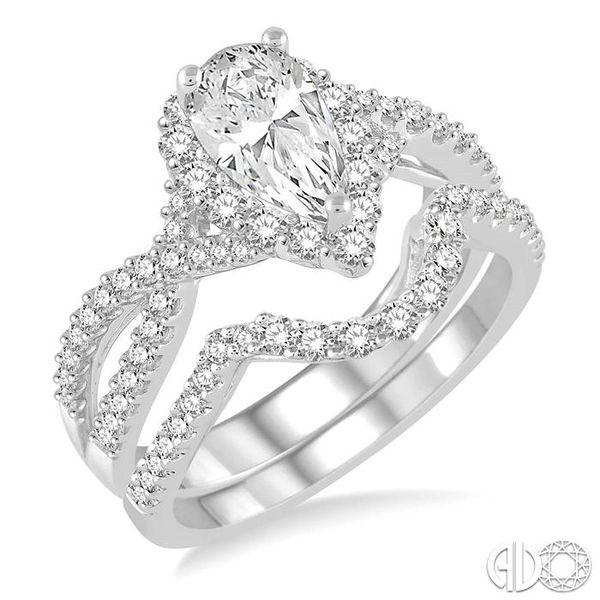 1 1/2 Ctw Diamond Wedding Set With 1 1/5 ct Pear Shape Intertwined Engagement Ring and 1/4 ct Wedding Band in 14K White Gold Coughlin Jewelers St. Clair, MI