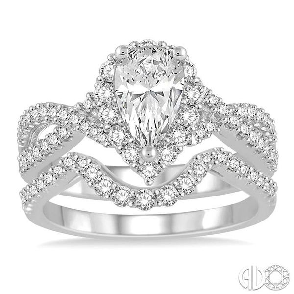 1 1/2 Ctw Diamond Wedding Set With 1 1/5 ct Pear Shape Intertwined Engagement Ring and 1/4 ct Wedding Band in 14K White Gold Image 2 Coughlin Jewelers St. Clair, MI