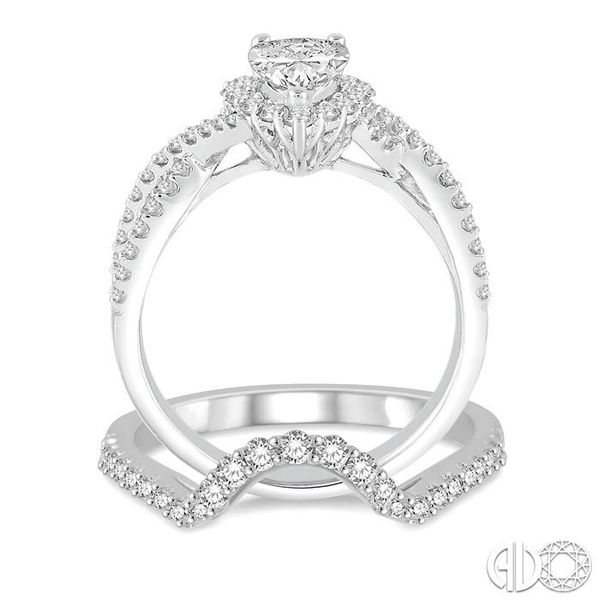 1 1/2 Ctw Diamond Wedding Set With 1 1/5 ct Pear Shape Intertwined Engagement Ring and 1/4 ct Wedding Band in 14K White Gold Image 3 Coughlin Jewelers St. Clair, MI