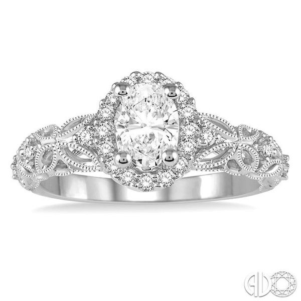 3/4 Ctw Vintage Inspired Diamond Halo Engagement Ring with 1/2 Ct Oval Cut Center Diamond in 14K White Gold Image 2 Coughlin Jewelers St. Clair, MI