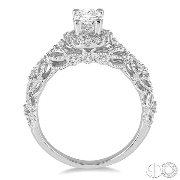 3/4 Ctw Vintage Inspired Diamond Halo Engagement Ring with 1/2 Ct Oval Cut Center Diamond in 14K White Gold Image 3 Coughlin Jewelers St. Clair, MI