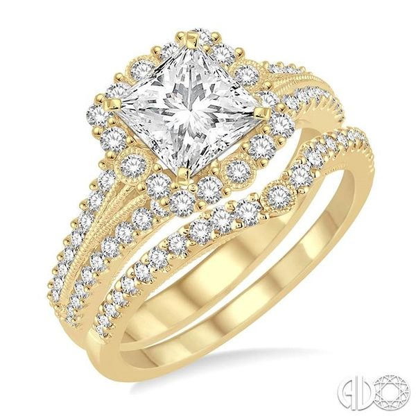 1 1/6 Ctw Diamond Wedding Set with 1 Ctw Princess Cut Engagement Ring and 1/5 Ctw Wedding Band in 14K yellow Gold Coughlin Jewelers St. Clair, MI