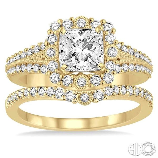 1 1/6 Ctw Diamond Wedding Set with 1 Ctw Princess Cut Engagement Ring and 1/5 Ctw Wedding Band in 14K yellow Gold Image 2 Coughlin Jewelers St. Clair, MI