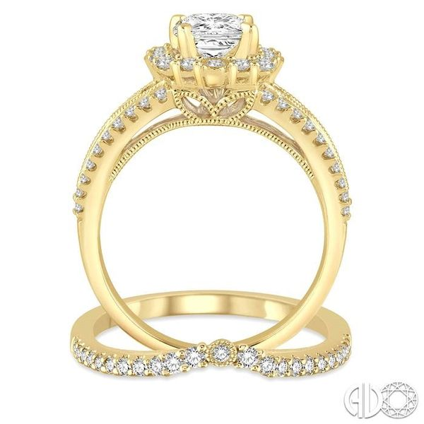 1 1/6 Ctw Diamond Wedding Set with 1 Ctw Princess Cut Engagement Ring and 1/5 Ctw Wedding Band in 14K yellow Gold Image 3 Coughlin Jewelers St. Clair, MI