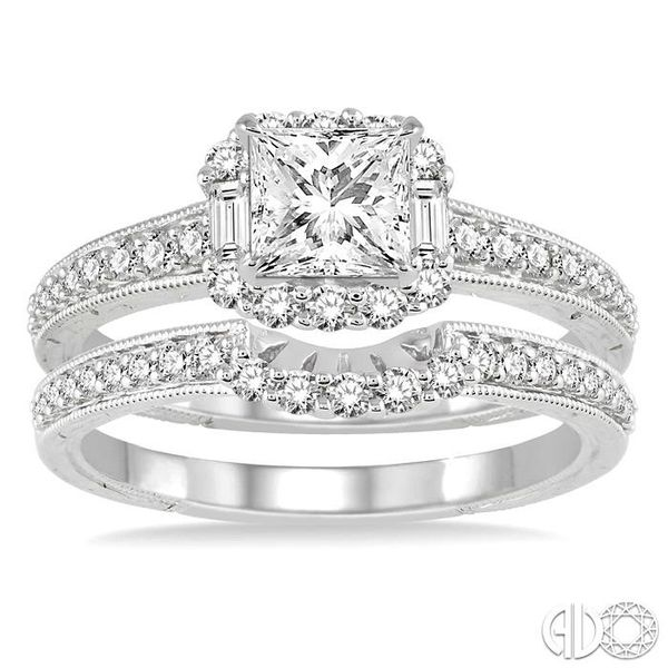 1 Ctw Diamond Wedding Set with 3/4 Ctw Princess Cut Engagement Ring and 1/5 Ctw Wedding Band in 14K White Gold Image 2 Coughlin Jewelers St. Clair, MI