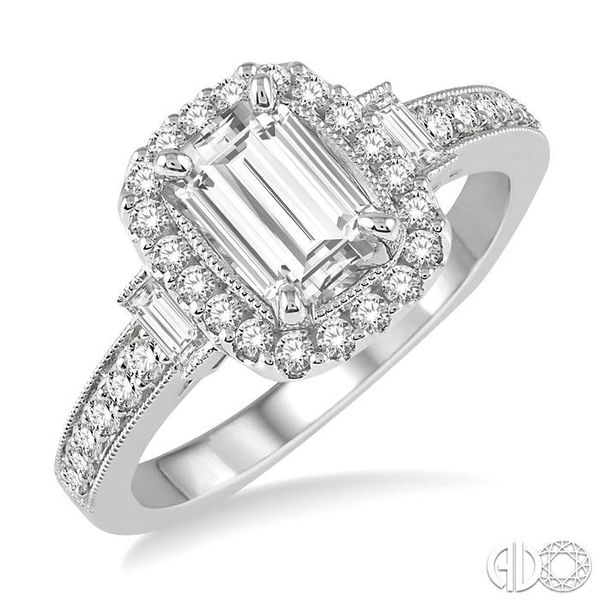 7/8 Ctw Diamond Engagement Ring with 1/2 Ct Octagon Cut Center Diamond in 14K White Gold Coughlin Jewelers St. Clair, MI
