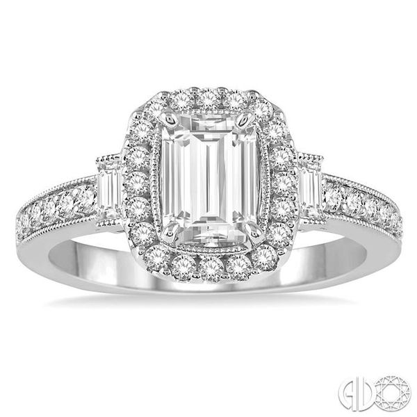 7/8 Ctw Diamond Engagement Ring with 1/2 Ct Octagon Cut Center Diamond in 14K White Gold Image 2 Coughlin Jewelers St. Clair, MI
