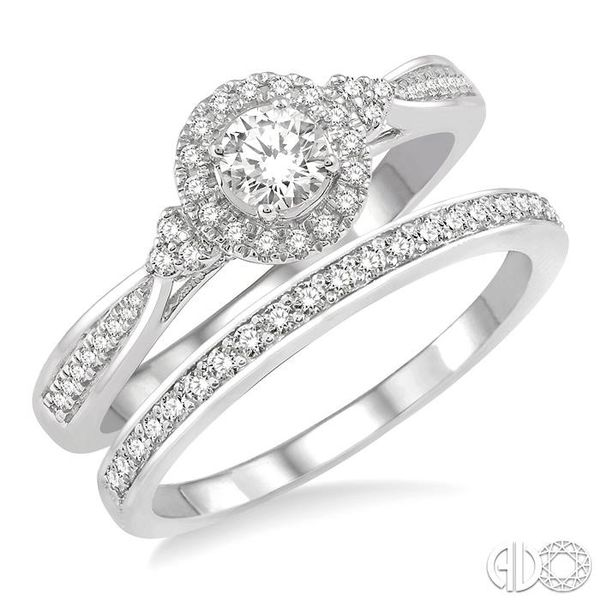 1/2 Ctw Diamond Wedding Set With 3/8 ct Round Center Engagement Ring and 1/10 ct Wedding Band in 14K White Gold Coughlin Jewelers St. Clair, MI