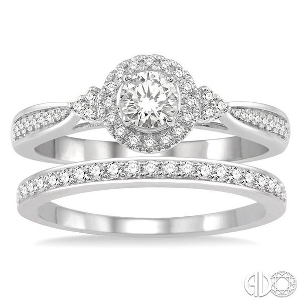 1/2 Ctw Diamond Wedding Set With 3/8 ct Round Center Engagement Ring and 1/10 ct Wedding Band in 14K White Gold Image 2 Coughlin Jewelers St. Clair, MI