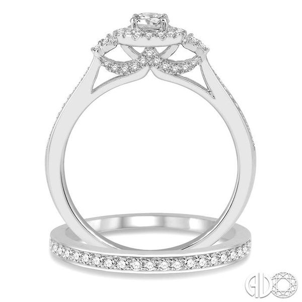1/2 Ctw Diamond Wedding Set With 3/8 ct Round Center Engagement Ring and 1/10 ct Wedding Band in 14K White Gold Image 3 Coughlin Jewelers St. Clair, MI