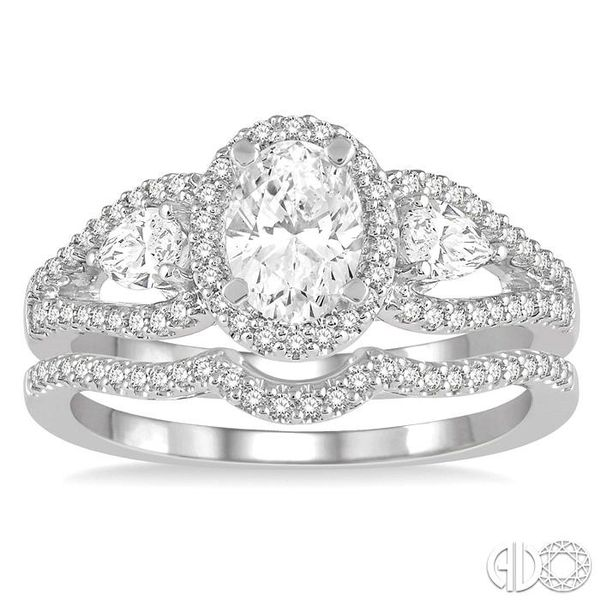 1 Ctw Diamond Wedding Set With 7/8 Ctw Oval Shape Engagement Ring and 1/10 Ctw Arched Center Wedding Band in 14K White Gold Image 2 Coughlin Jewelers St. Clair, MI