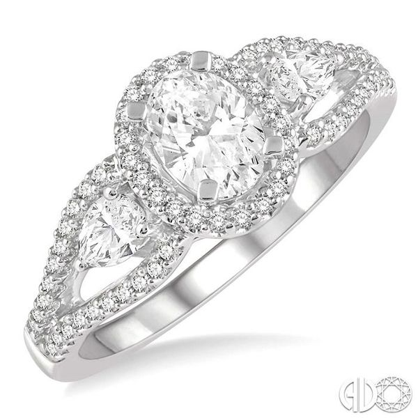 7/8 Ctw Oval Shape Diamond Engagement Ring in 14K White Gold Coughlin Jewelers St. Clair, MI