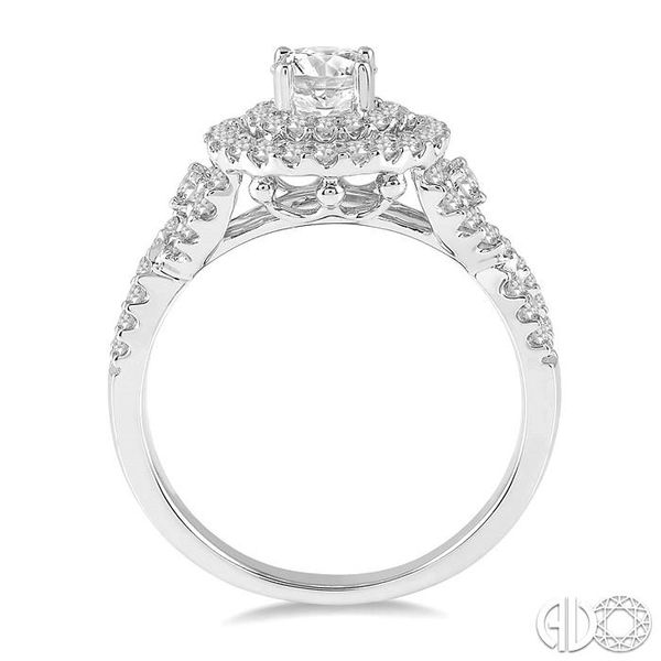 1 1/10 Ctw Diamond Engagement Ring with 1/2 Ct Round Cut Center Diamond in 14K White Gold Image 3 Coughlin Jewelers St. Clair, MI