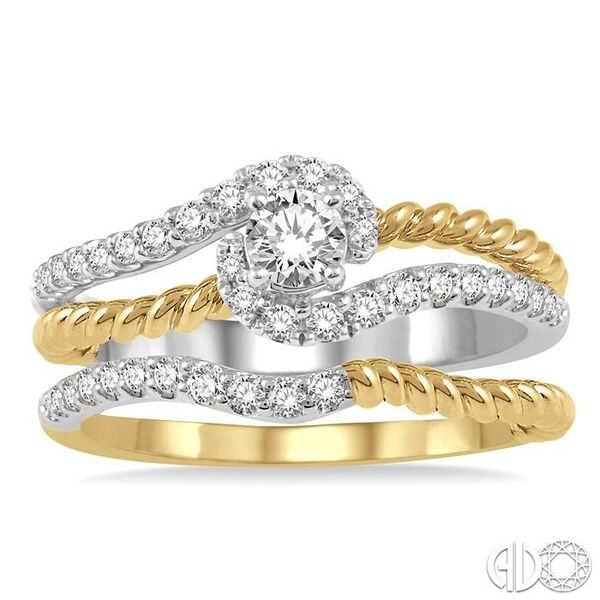 1/2 Ctw Two Tone Round Cut Diamond Wedding Set With 1/2 Ctw Engagement Ring and 1/20 Ctw Wedding Band in 14K White and Yellow Go Image 2 Coughlin Jewelers St. Clair, MI