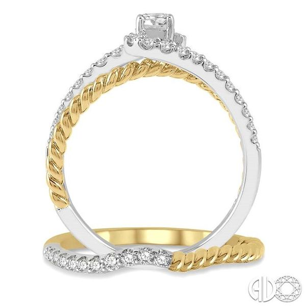 1/2 Ctw Two Tone Round Cut Diamond Wedding Set With 1/2 Ctw Engagement Ring and 1/20 Ctw Wedding Band in 14K White and Yellow Go Image 3 Coughlin Jewelers St. Clair, MI