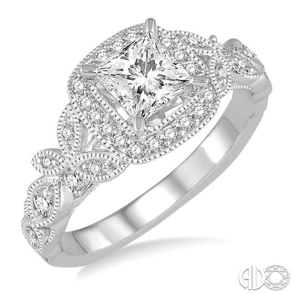 3/4 Ctw Diamond Engagement Ring with 1/2 Ct Princess Cut Center Stone in 14K White Gold Coughlin Jewelers St. Clair, MI