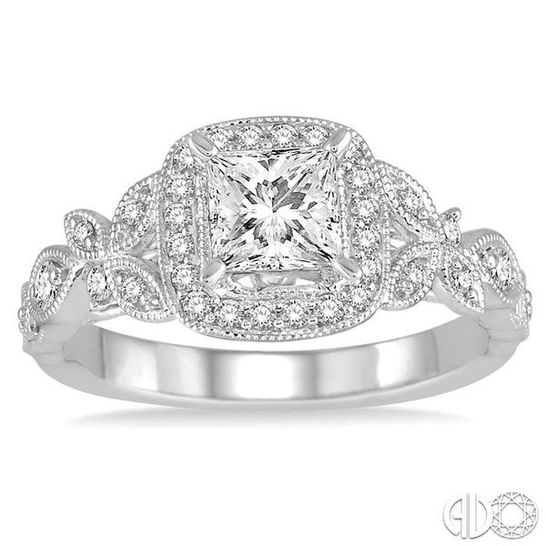 3/4 Ctw Diamond Engagement Ring with 1/2 Ct Princess Cut Center Stone in 14K White Gold Image 2 Coughlin Jewelers St. Clair, MI