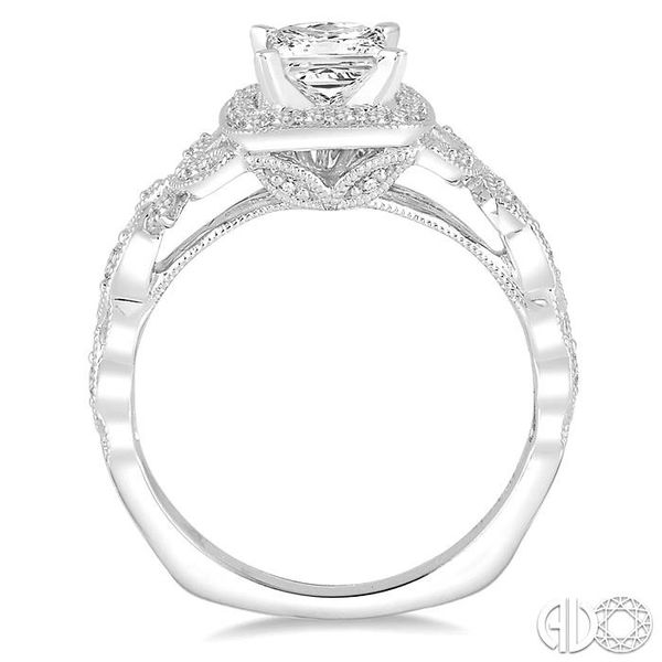 3/4 Ctw Diamond Engagement Ring with 1/2 Ct Princess Cut Center Stone in 14K White Gold Image 3 Coughlin Jewelers St. Clair, MI