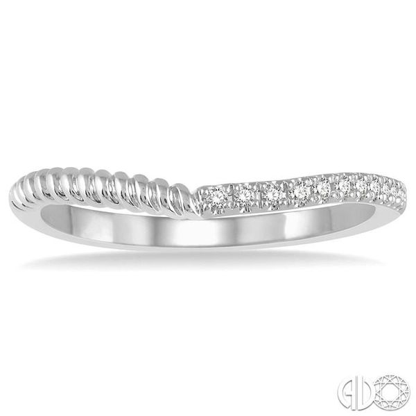 1/20 Ctw Twisted Round Cut Diamond Wedding Band in 14K White Gold Image 2 Coughlin Jewelers St. Clair, MI