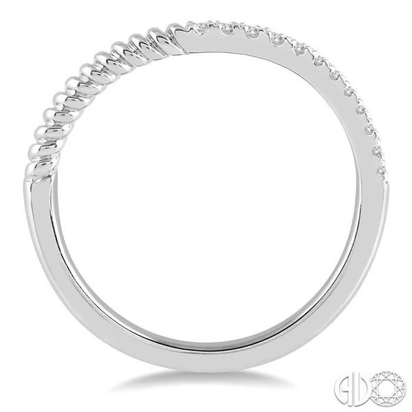 1/20 Ctw Twisted Round Cut Diamond Wedding Band in 14K White Gold Image 3 Coughlin Jewelers St. Clair, MI