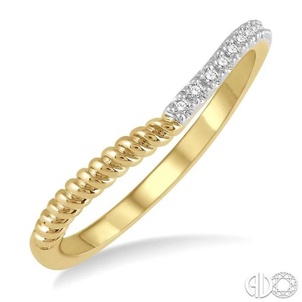 1/20 Ctw Twisted Round Cut Diamond Wedding Band in 14K Yellow Gold Coughlin Jewelers St. Clair, MI