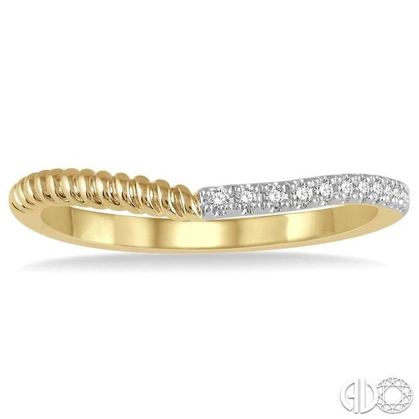 1/20 Ctw Twisted Round Cut Diamond Wedding Band in 14K Yellow Gold Image 2 Coughlin Jewelers St. Clair, MI