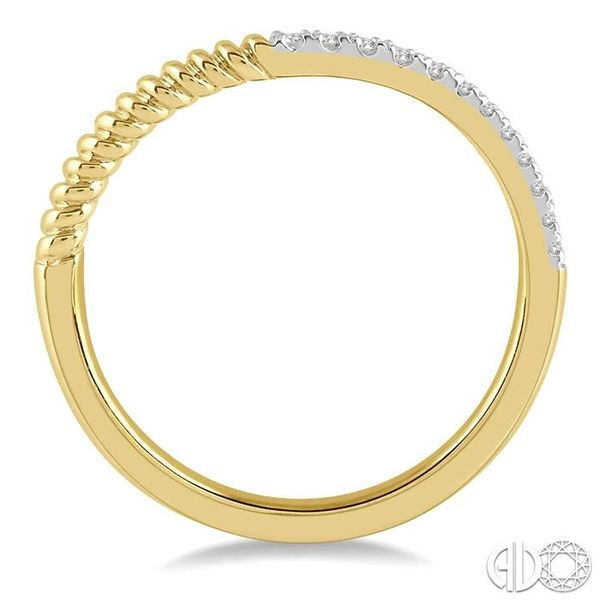1/20 Ctw Twisted Round Cut Diamond Wedding Band in 14K Yellow Gold Image 3 Coughlin Jewelers St. Clair, MI