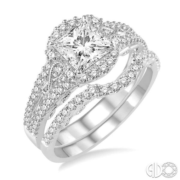 1 1/4 Ctw Diamond Wedding Set with 1 1/10 Ctw Princess Cut Engagement Ring and 1/5 Ctw Wedding Band in 14K White Gold Coughlin Jewelers St. Clair, MI