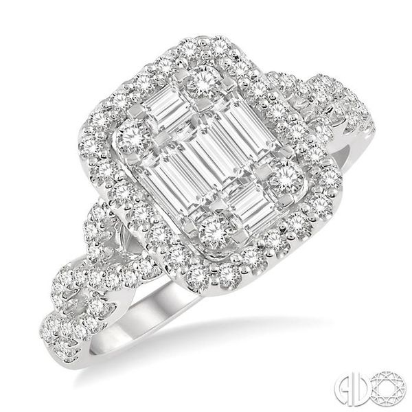 1 Ctw Baguette & Round Cut Fusion Diamond Ring in 14K White Gold Coughlin Jewelers St. Clair, MI