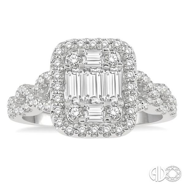 1 Ctw Baguette & Round Cut Fusion Diamond Ring in 14K White Gold Image 2 Coughlin Jewelers St. Clair, MI
