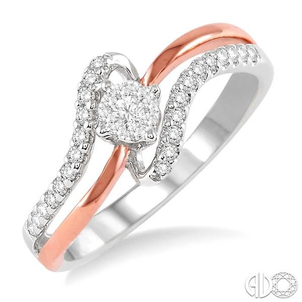 1/4 Ctw Lovebright Round Cut Diamond Ring in 10K White and Rose Gold Coughlin Jewelers St. Clair, MI